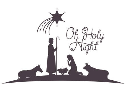 holy family and animals manger silhouettes vector illustration design