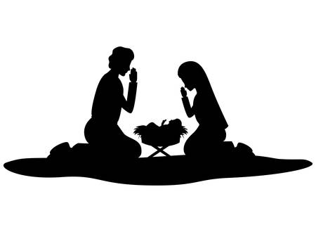 Heilige Familie Silhouetten Krippe Zeichen Vector Illustration Design Vektorgrafik