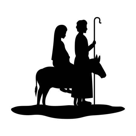 Vierge Marie en mule et saint joseph silhouettes vector illustration