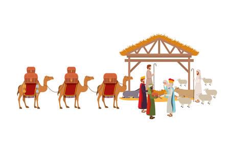 Sagrada familia en el establo con los reyes sabios pesebre, diseño de ilustraciones vectoriales
