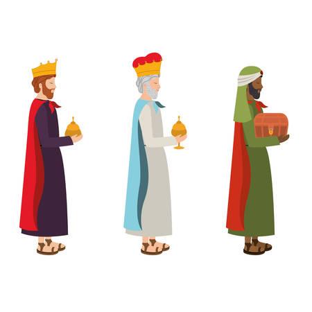 sages, rois, crèche, caractères, vecteur, illustration, conception