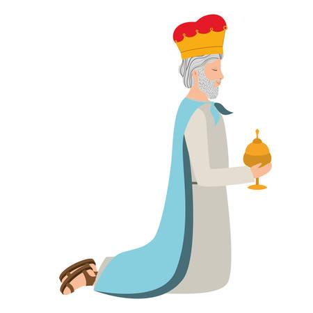 Hombre sabio de rodillas, diseño de ilustraciones vectoriales de personajes de pesebre Ilustración de vector