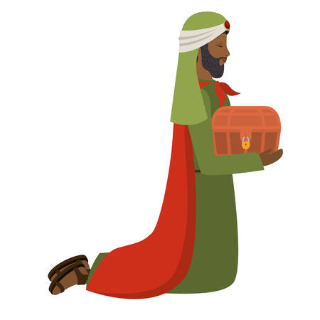 wise man down on my knees manger character vector illustration design
