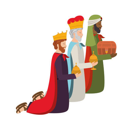 wise kings down on my knees manger characters vector illustration design