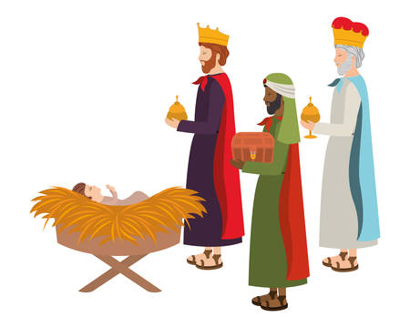 Reyes sabios con el niño Jesús en establo de paja. Diseño de ilustración vectorial