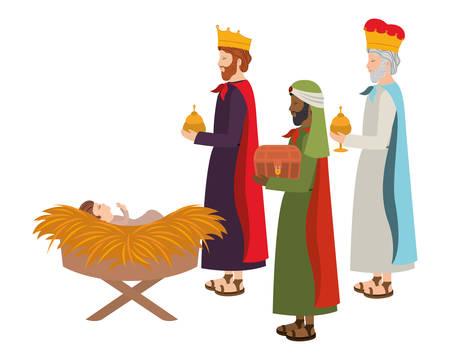 Weise Könige mit Jesusbaby im Strohstall. Vektorillustrationsdesign