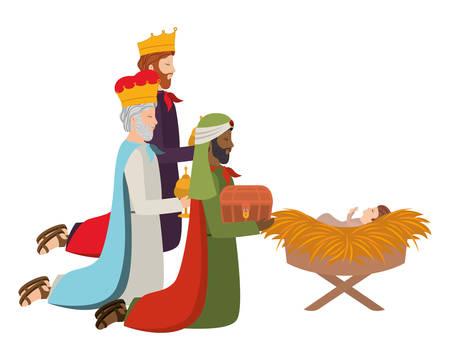 Rois sages avec Jésus bébé dans une étable de paille. Conception d'illustration vectorielle Vecteurs