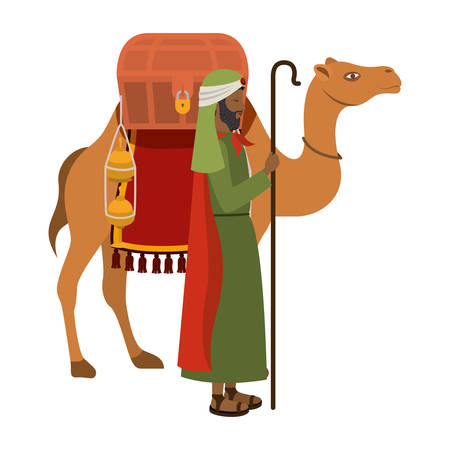 wise man with camel manger character vector illustration design