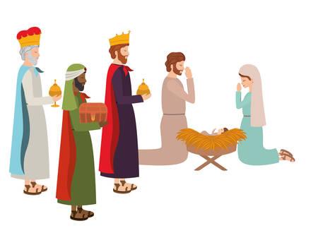 Sainte famille avec des rois sages et des animaux vector illustration design