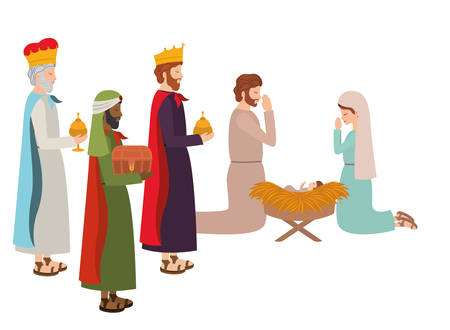 holy family with wise kings and animals vector illustration design