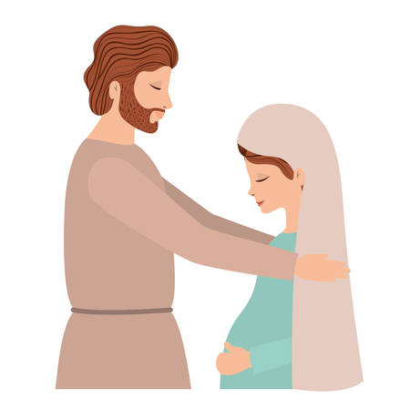 virgin mary pregnancy and saint joseph vector illustration design