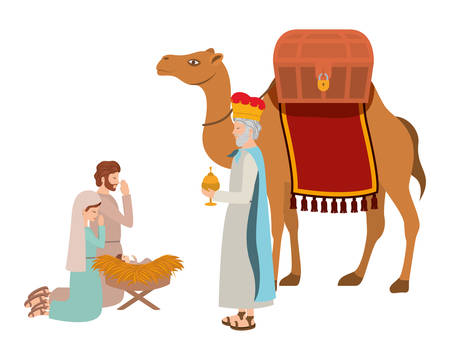 holy family with wise man manger characters vector illustration design Vectores