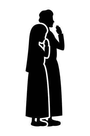 Vierge Marie et silhouette de saint Joseph. Conception d'illustration vectorielle