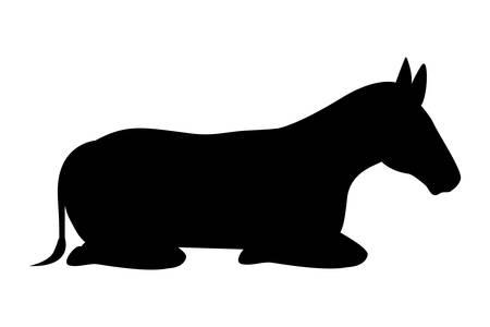 Simpatico personaggio di mangiatoia sagoma mulo. Disegno di illustrazione vettoriale
