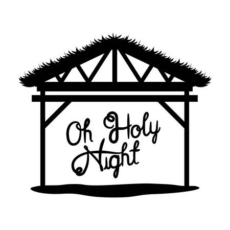 Wooden stable manger with oh holy night text. Vector illustration design