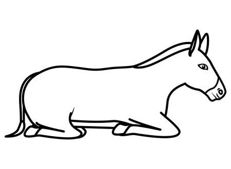 Caractère mignon de crèche de mule. Conception d'illustration vectorielle