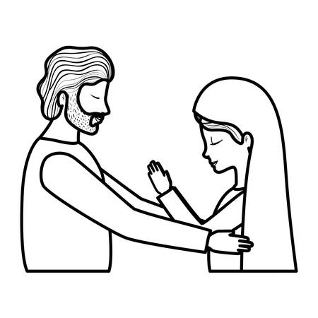 Virgin Mary and saint Joseph. Vector illustration design