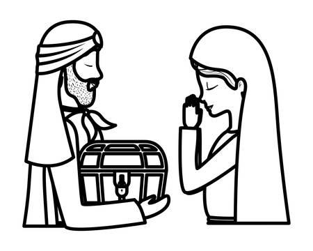 Vierge Marie mignonne avec des personnages de roi sage. Conception d'illustration vectorielle