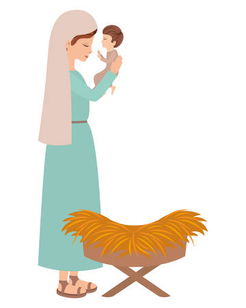 Cute Mary virgin with Jesus baby. Vector illustration design Banque d'images - 110244555
