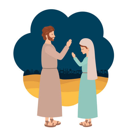 Virgin Mary and saint Joseph. Vector illustration design