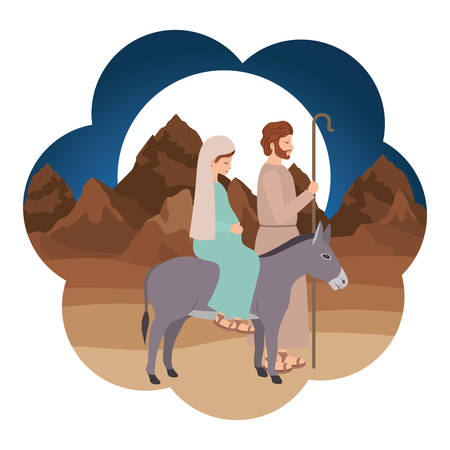 Virgin Mary in mule and saint Joseph. Vector illustration design