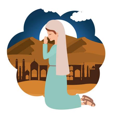 Cute Mary virgin praying character. Vector illustration design