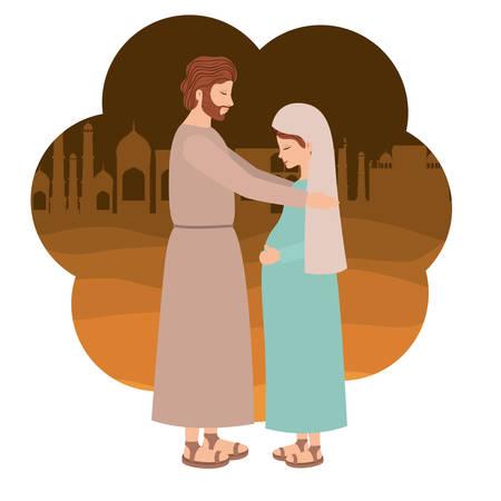 Grossesse de la Vierge Marie et saint Joseph. Conception d'illustration vectorielle