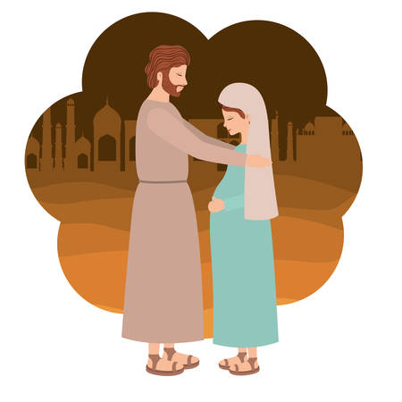 Virgin Mary pregnancy and saint Joseph. Vector illustration design