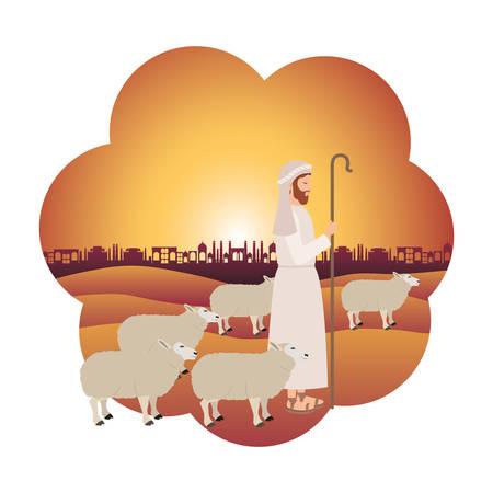 Pastor con carácter de pesebre de ovejas. Diseño de ilustración vectorial