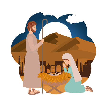 Holy family manger characters. Vector illustration design
