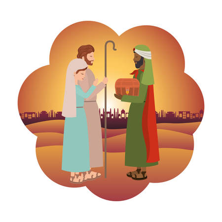 Wise man with saint Joseph and Mary virgin. Vector illustration design