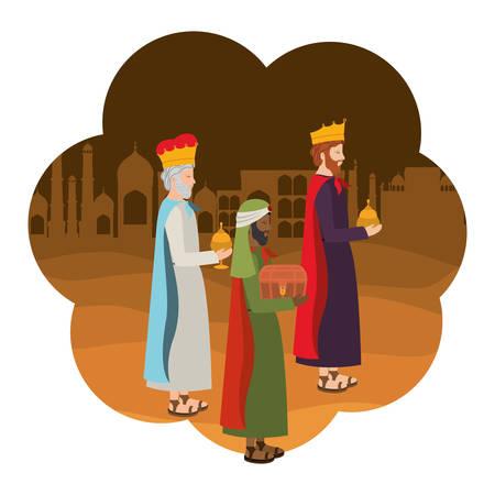 Wise kings manger characters. Vector illustration design