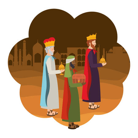 Wise kings manger characters. Vector illustration design