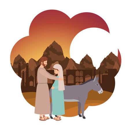 Vierge Marie en mulet et saint Joseph. Conception d'illustration vectorielle