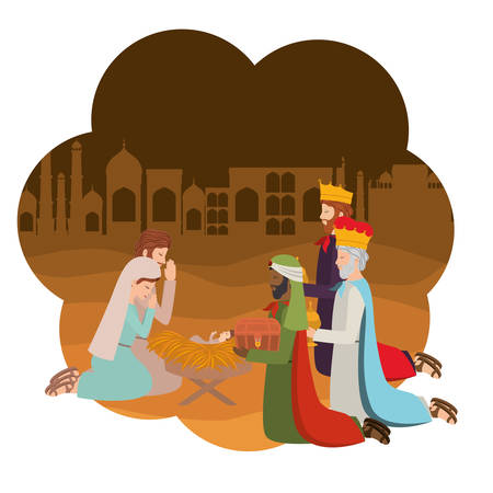 Holy family with wise kings manger characters. Vector illustration design
