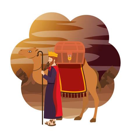Roi sage en caractère de mangeoire à chameaux. Conception d'illustration vectorielle