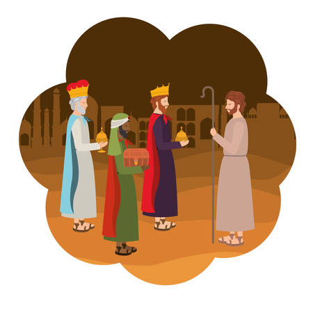 Wise kings with saint Joseph manger characters. Vector illustration design