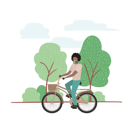 young man with bicycle in landscape vector illustration desing Vektorové ilustrace