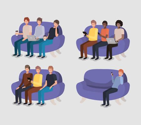 group of men in living room using technology vector illustration
