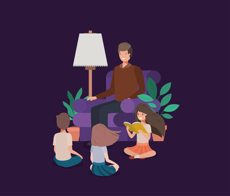 man with kids in the livingroom reading books vector illustration design Vettoriali
