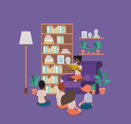 students sitting in the livingroom reading book vector illustration design Foto de archivo