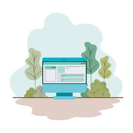 Écran d'ordinateur avec calendrier isolé conception d'illustration vectorielle icône Vecteurs