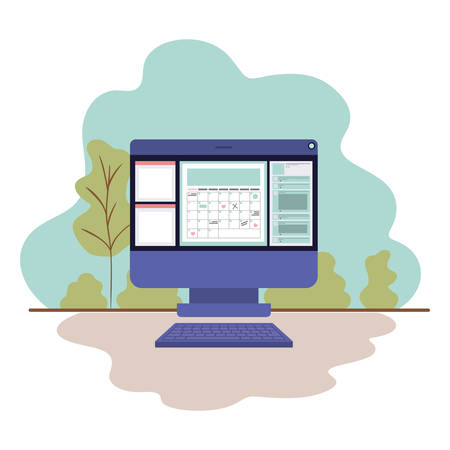 computer screen with calendar isolated icon vector illustration design