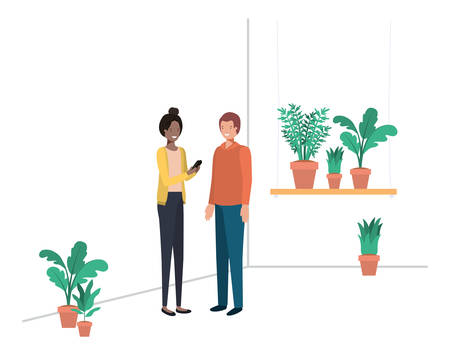 young couple with house plant and smartphone vector illustration desing