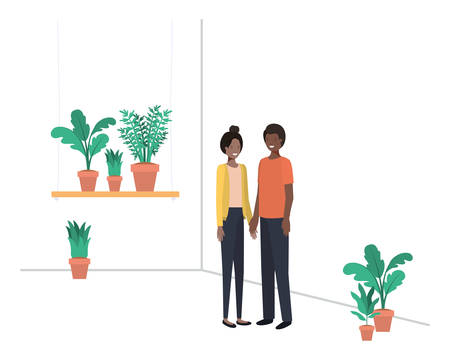 young couple with house plant avatar character vector illustration desing