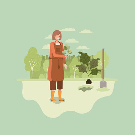 woman planting tree in the park with shovel vector illustration design