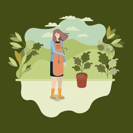 woman planting tree in the park vector illustration design