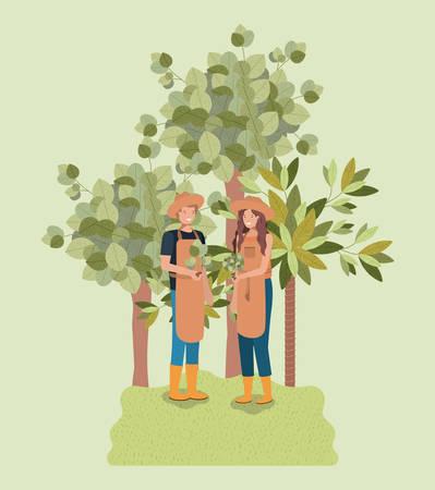 Couple planting tree in the park Vektoros illusztráció