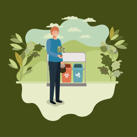 young man planting tree in the park with recycle bins vector illustration Illusztráció