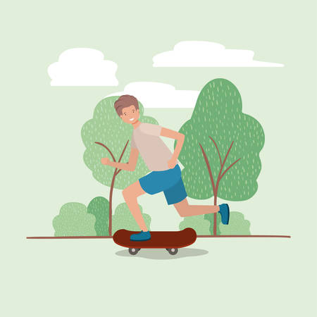 young man in skateboard on the park vector illustration design